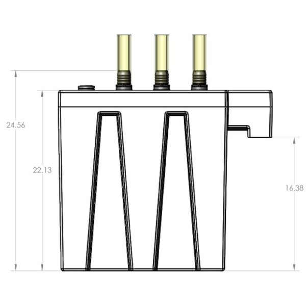 Seamless Sump - 1S4B Four Sock Tub Front Dimensions