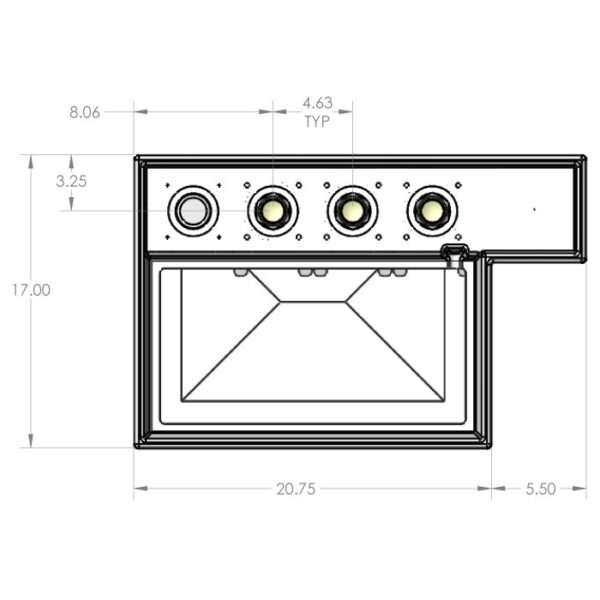Seamless Sump - 1S4B Four Sock Tub Dimensions