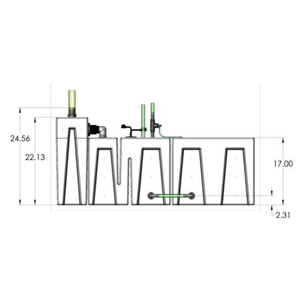 Seamless Sump Package 150-240 Gallon Evaporation Configuration Diagram Front