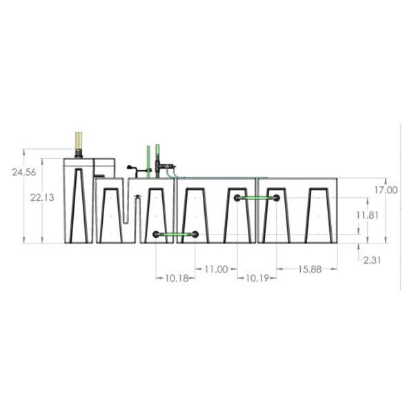 1200GPH Large Seamless Sump® Package - Evaporation / Refugium - Diagram Front