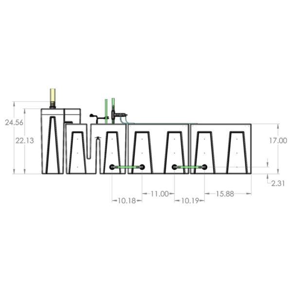 1200GPH Large Seamless Sump® Package - Evaporation / Evaporation Diagram Front