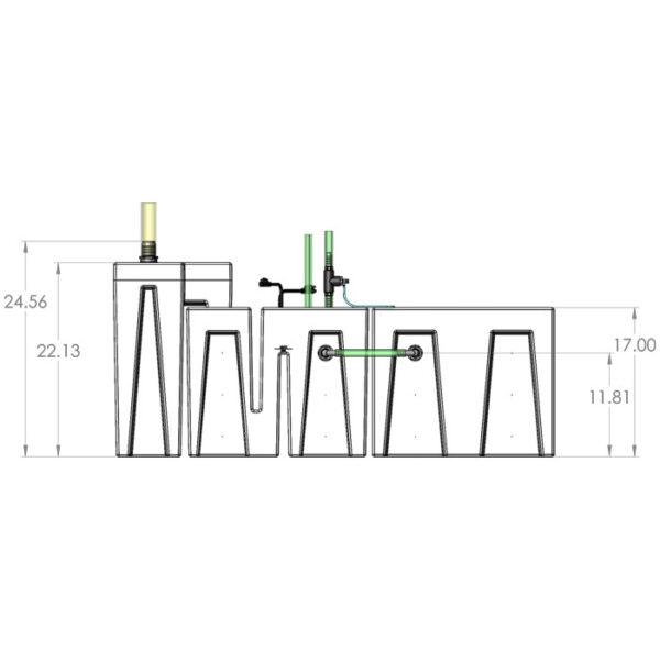 Seamless Sump Package 150-240 Gallon Refugium Configuration Diagram Front