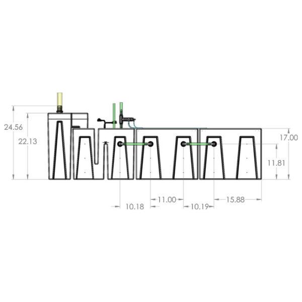 1200GPH Large Seamless Sump® Package - Refugium / Refugium - Diagram Front