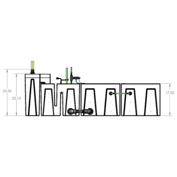 The 2400GPH Large Seamless Sump® Package - Evaporation / Refugium - Diagram Front