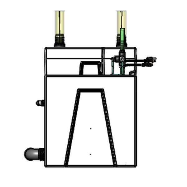 The 2400GPH Large Seamless Sump® Package - Evaporation / Refugium - Diagram Right
