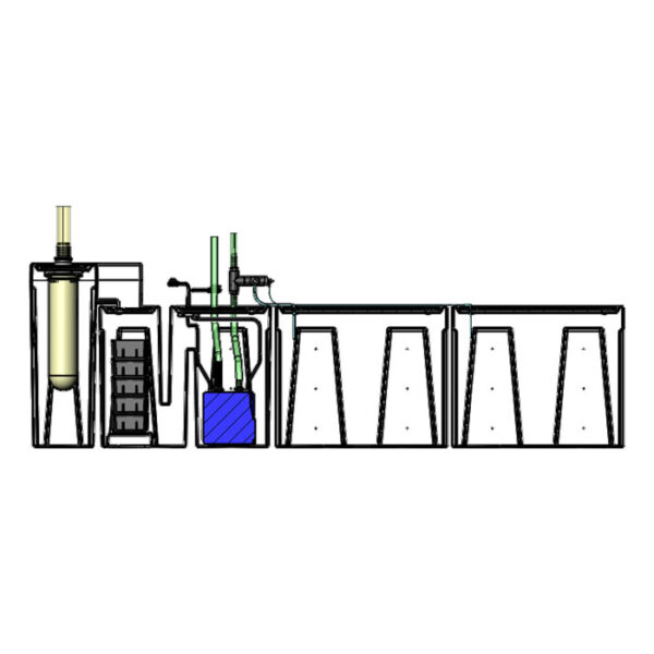 The 2400GPH Large Seamless Sump® Package - Diagram Inside
