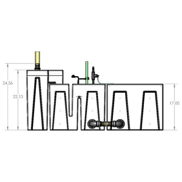 The 2400GPH Small Seamless Sump® Package - Evaporation Diagram Front