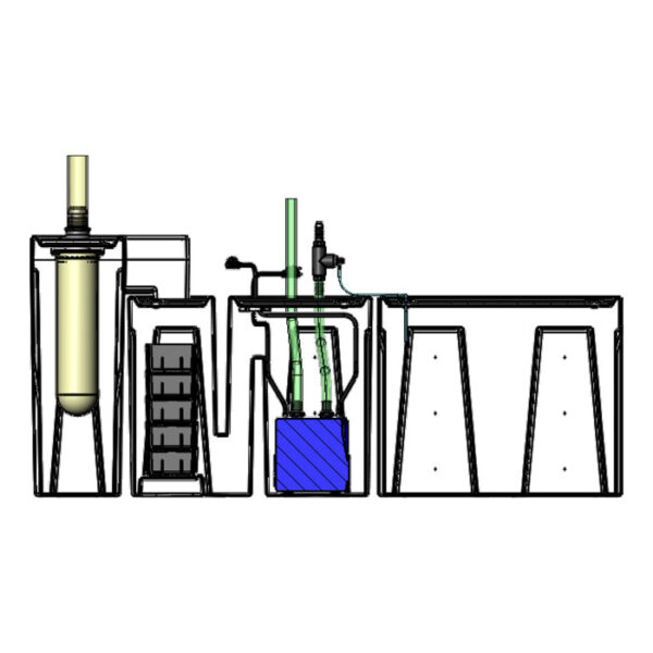 The 2400GPH Small Seamless Sump® Package - Diagram Inside