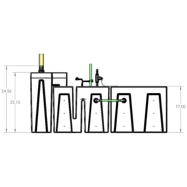 The 2400GPH Small Seamless Sump® Package - Refugium Diagram Front