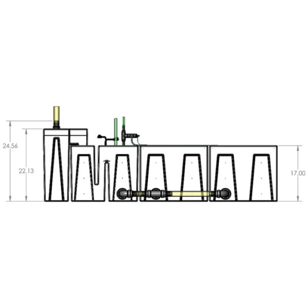 The 2400GPH Large Seamless Sump® Package - Evaporation / Evaporation - Diagram Front