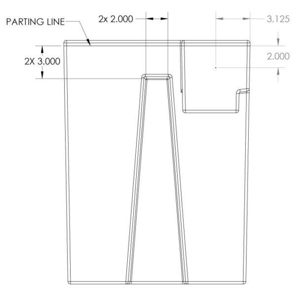 Seamless Sump Skimmer Tub Diagram Right