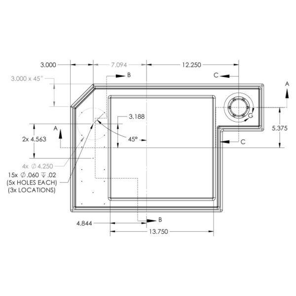 Seamless Sump Skimmer Tub Diagram Dimensions