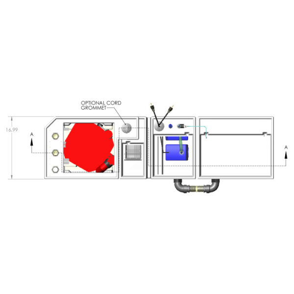 3600GPH Small Reef Seamless Sump® Package - Evaporation - Diagram Top