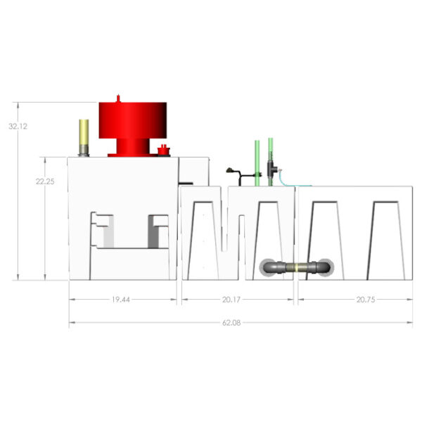 3600GPH Small Reef Seamless Sump® Package - Evaporation - Diagram Front