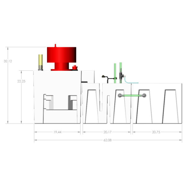 3600GPH Small Reef Seamless Sump® Package - Refugium - Diagram Front