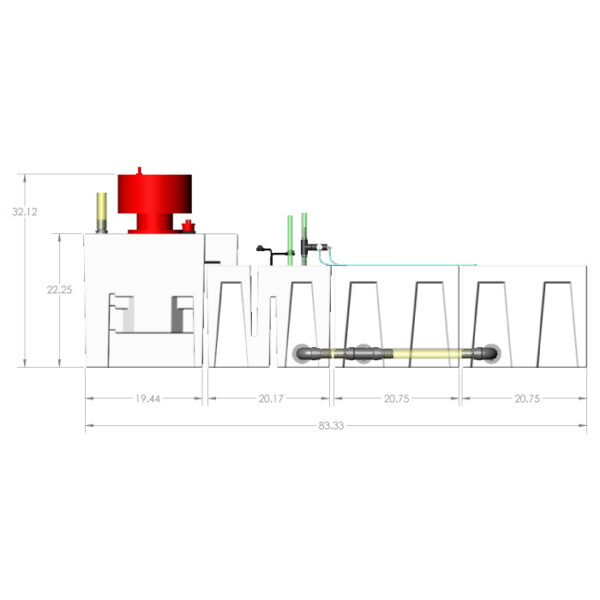 3600GPH Large Reef Seamless Sump® Package - Evaporation / Evaporation - Diagram Front