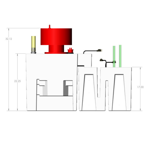3600GPH Nano Reef Seamless Sump® Package - Diagram Front