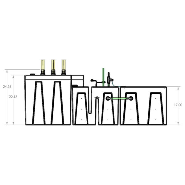 The 4800GPH Small Seamless Sump® Package - Refugium - Diagram Front