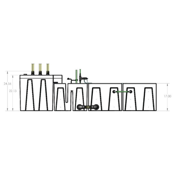 The 4800GPH Large Seamless Sump® Package - Evaporation / Refugium - Diagram Front