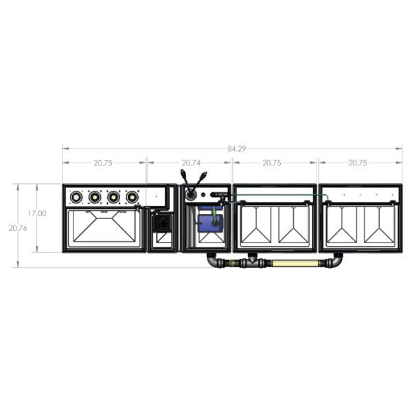 The 4800GPH Large Seamless Sump® Package - Evaporation / Evaporation - Diagram Front