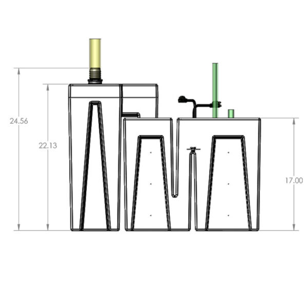 The 2400GPH Nano Seamless Sump® Package - Diagram Front