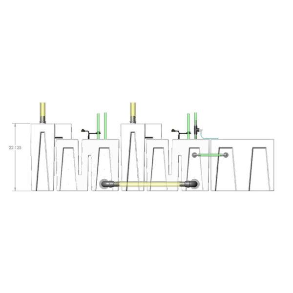 4800GPH Media-Max Small Seamless Sump® Package - Refugium - Diagram Front