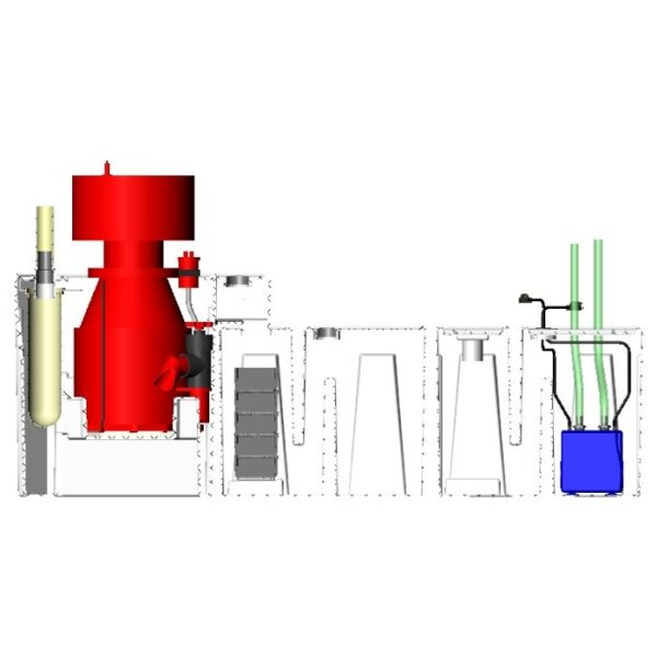 3600GPH Double-Baffle Reef Seamless Sump® Package - Diagram Front