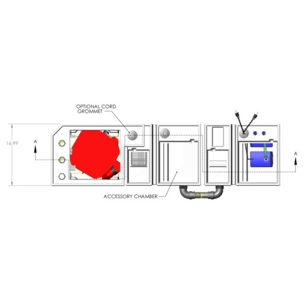 3600GPH Double-Baffle Reef Seamless Sump® Package - Diagram Top
